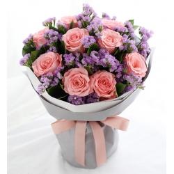 粉玫瑰9枝