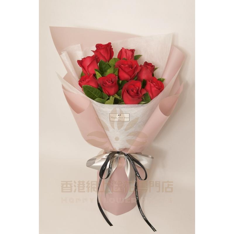 9枝紅玫瑰加適量支子葉