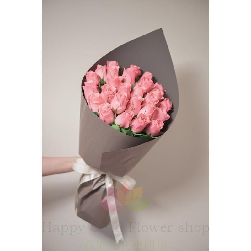 26枝肯雅進口粉玫瑰