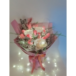 LED Pink rose peony Korean...