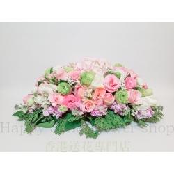 粉玫瑰粉繡球欖形檯花