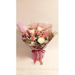 Pink rose peony Korean bouquet