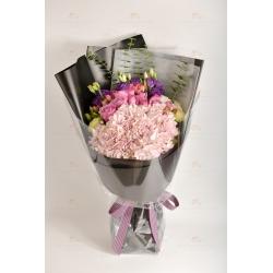 守護你(11支紫玫、粉繡球花、紫桔梗、綠桔梗、白菊仔、...