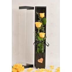 3枝進口玫瑰禮盒(3枝黃玫瑰,尤加利)