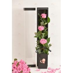 3枝進口玫瑰禮盒(3枝紫玫瑰,尤加利)