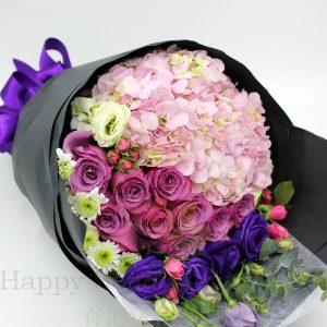 韓式11紫玫瑰混搭花束