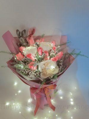 LED粉玫瑰白牡丹韓式花束