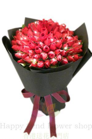 聖誕閃耀花束:送老婆結婚周年花束-LED101枝玫瑰花束