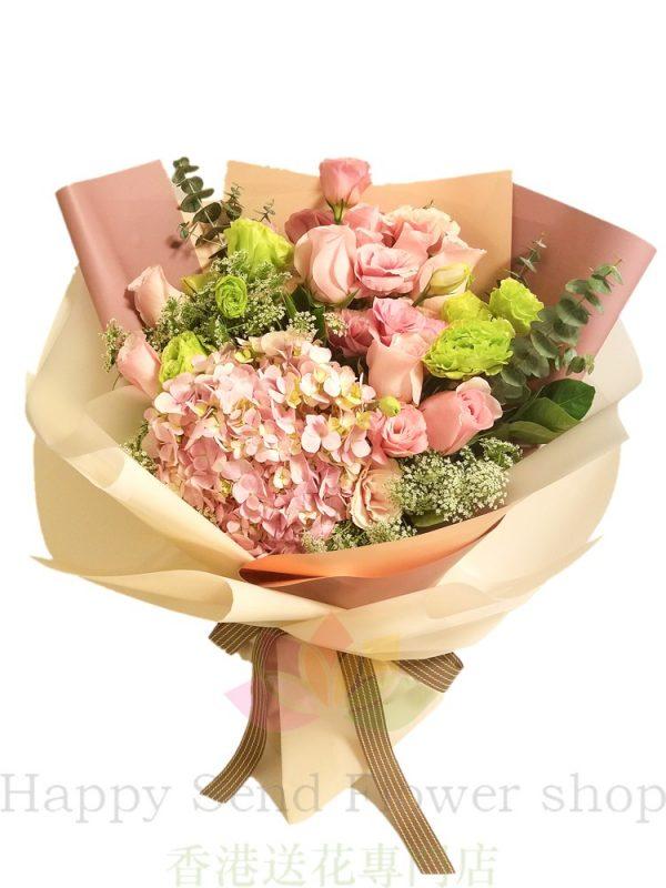 粉玫瑰加粉繡球韓式花束