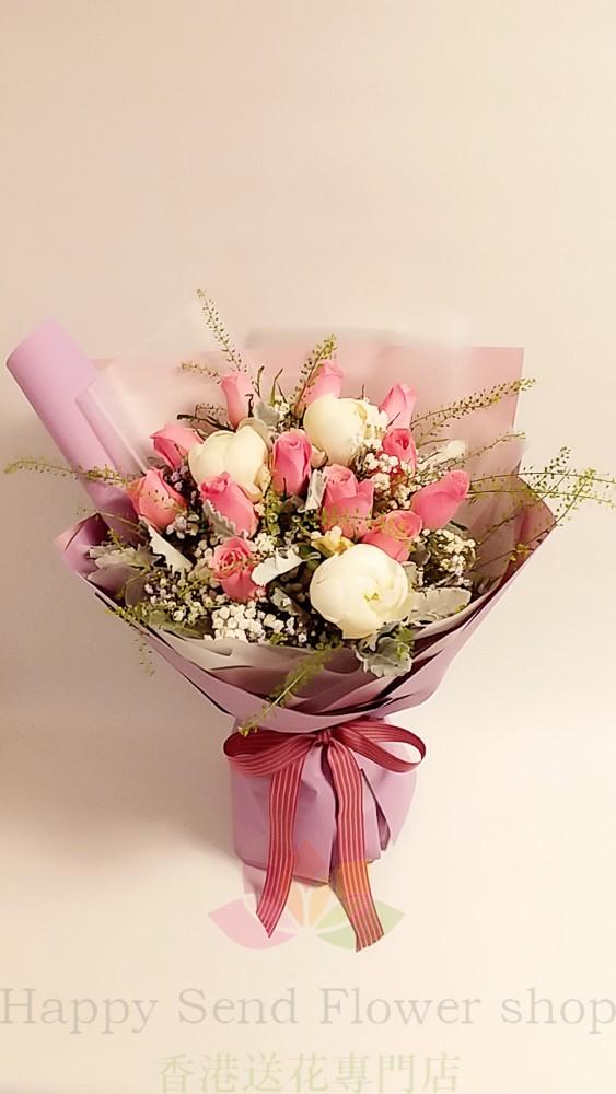 粉玫瑰白牡丹韓式花束