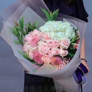 粉玫白繡球花束