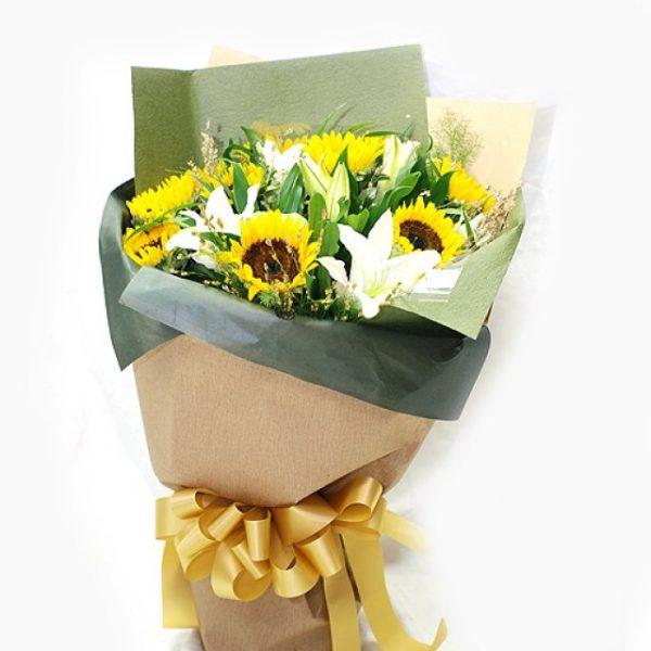 超人氣獻花花束 向日葵香水百合花束
