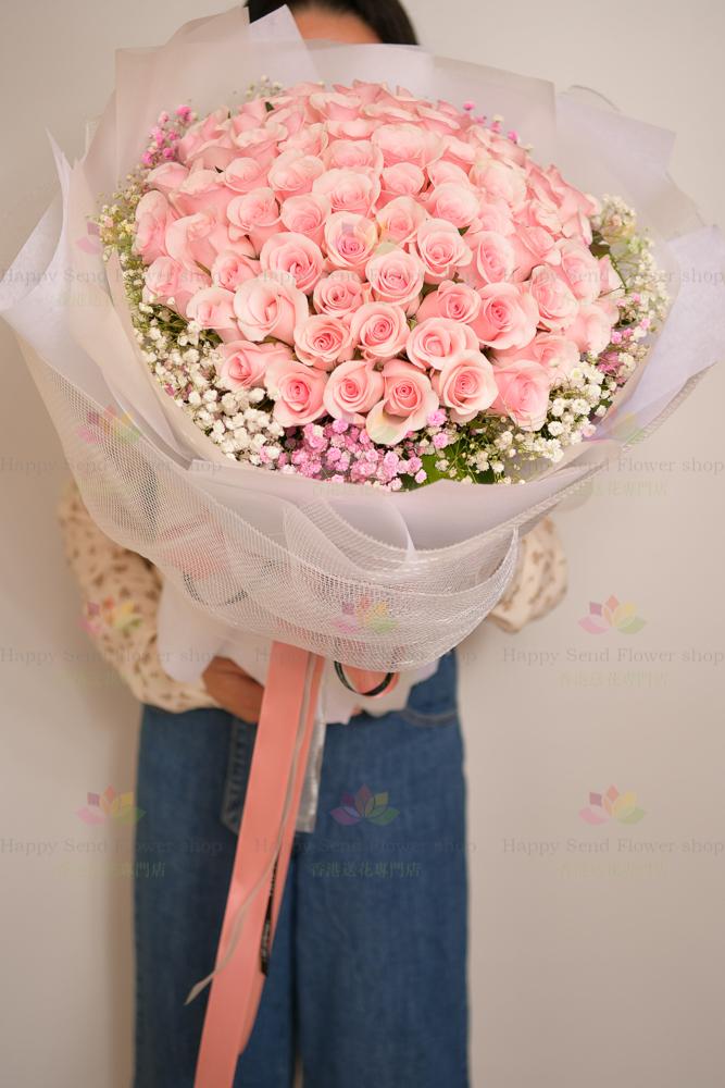 88枝粉玫瑰
