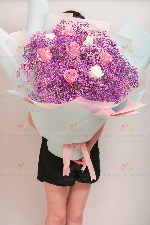 紫色滿天星花束(1米高)