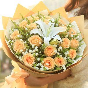 19朵香檳玫瑰花束