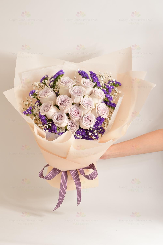 對妳的愛與日俱增(12支紫玫、滿天星)