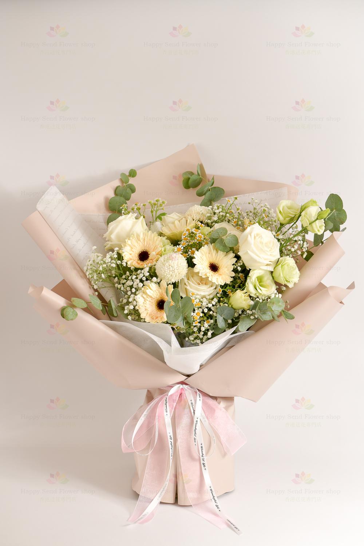 素雅(白玫瑰、白太陽菊、白乒乓、綠桔梗、洋甘菊、滿天星、尤加利)