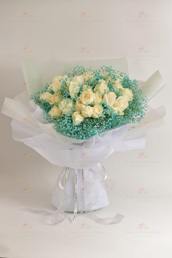 3生3世仍是妳(33枝白玫瑰,藍滿天星)