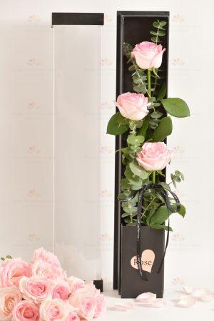 3枝進口玫瑰禮盒(3枝粉玫瑰,尤加利)