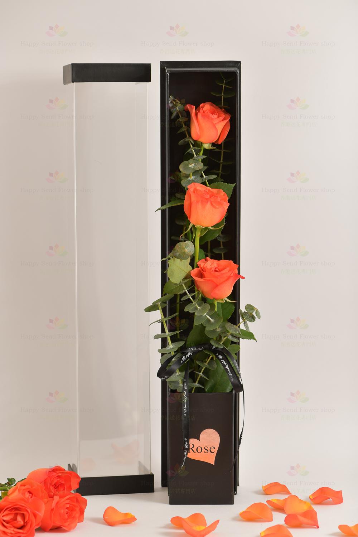 3枝進口玫瑰禮盒(3枝橙玫瑰,尤加利)