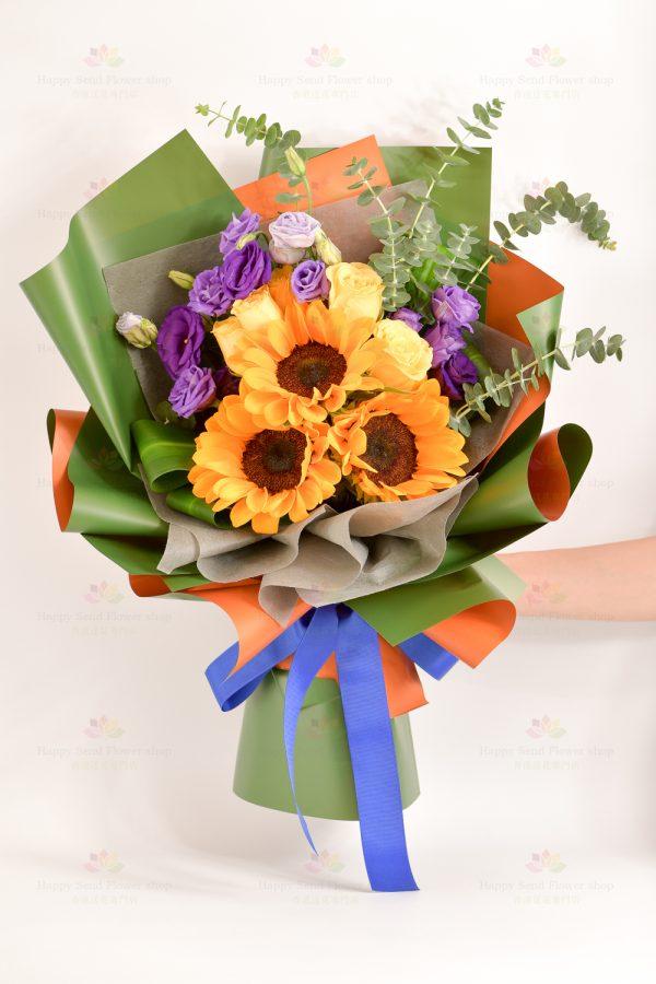灼熱年華(向日葵、黃玫瑰、紫桔梗、尤加利 ,巴西葉)