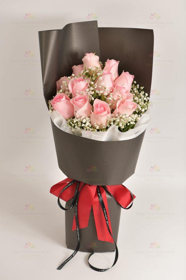女主角(12枝粉玫瑰,白滿天星)