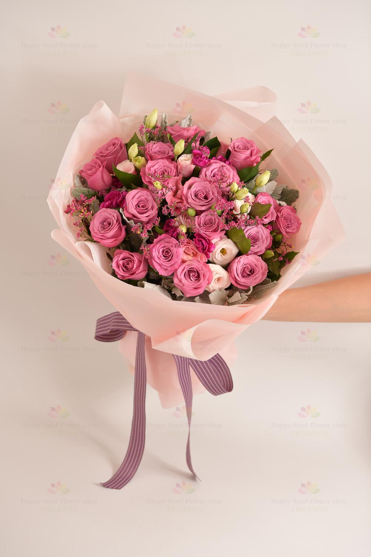 只想妳(18枝紫玫瑰,粉桔梗,小丁,粉彩星,銀絨葉)