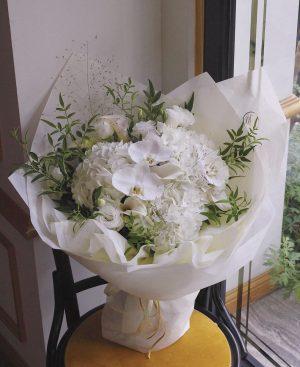 純潔珍貴(白蝴蝶蘭、白繡球、白馬蹄蘭、白桔梗、煙霧草、時令葉材)