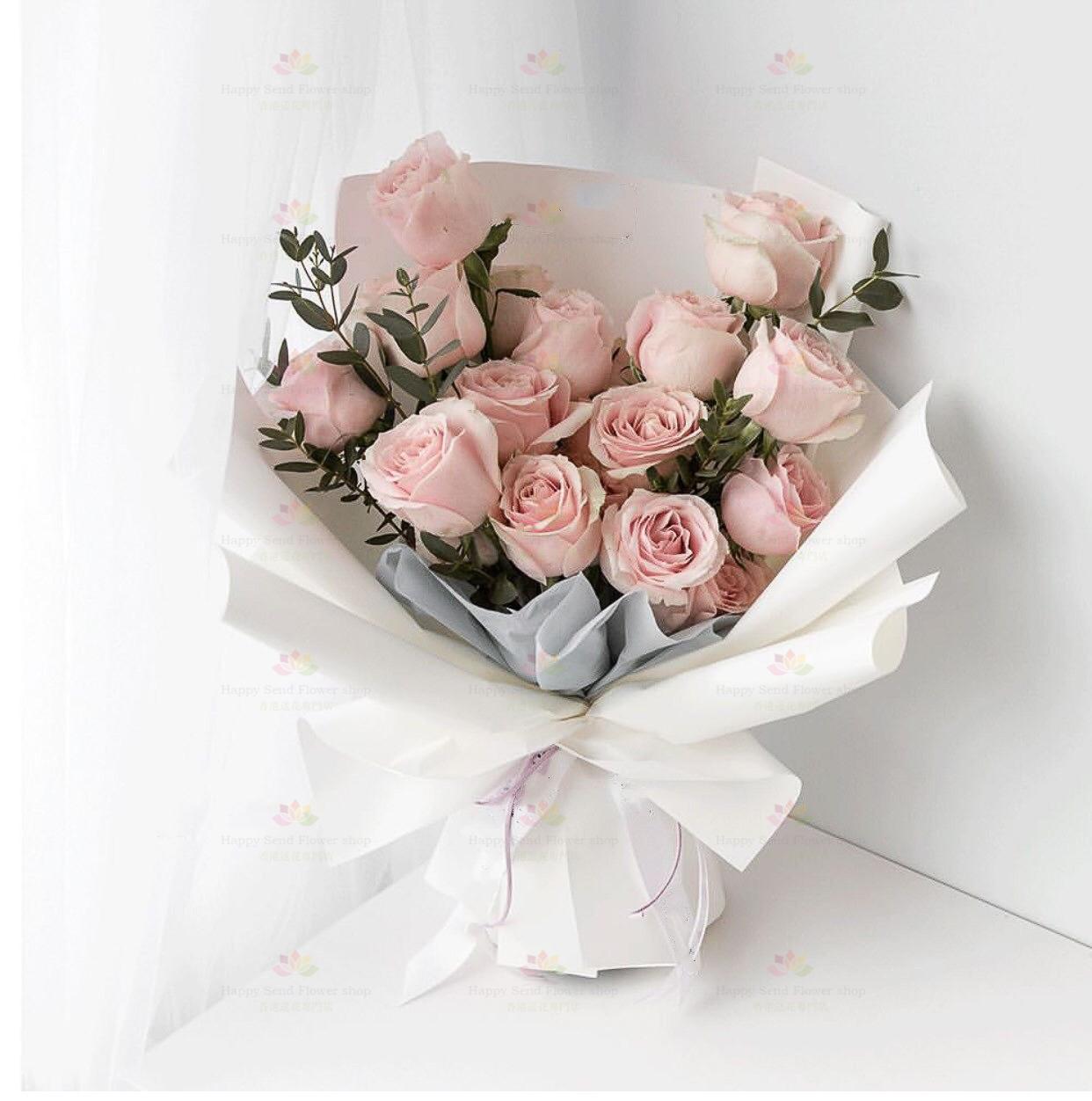 甜蜜女神(16枝粉玫瑰、尤加利)