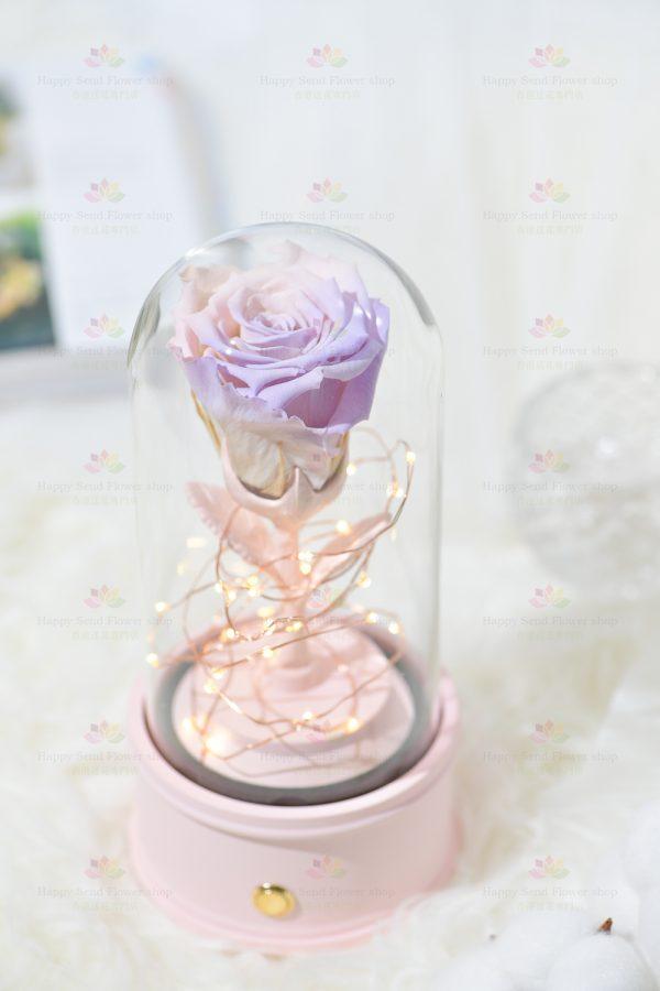 永生花單枝玫瑰藍牙喇叭(紫粉色)