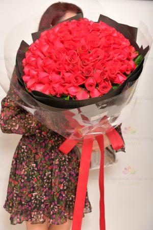 長長久久的愛-99枝玫瑰花束(採用進口玫瑰)