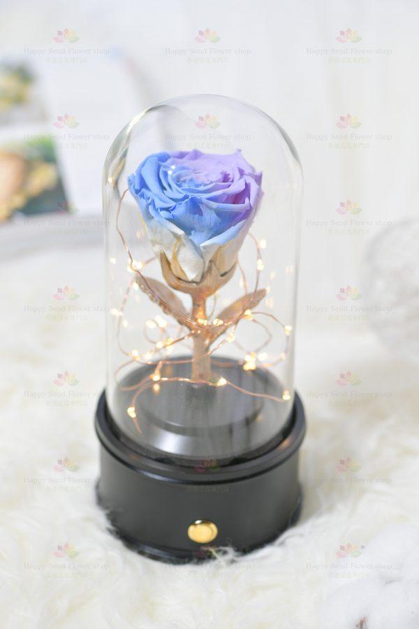 永生花單枝玫瑰藍牙喇叭(紫藍色)