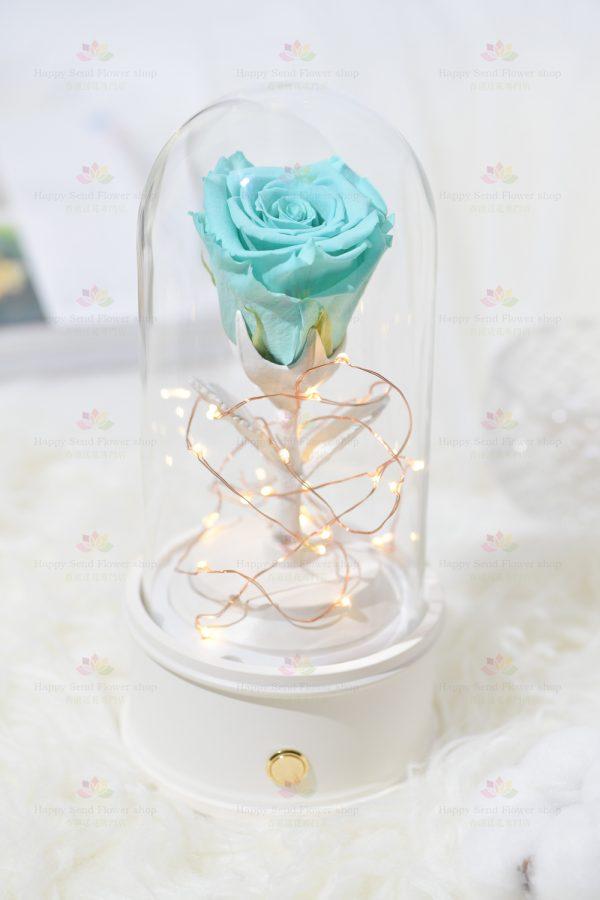 永生花單枝玫瑰藍牙喇叭(海藍色)