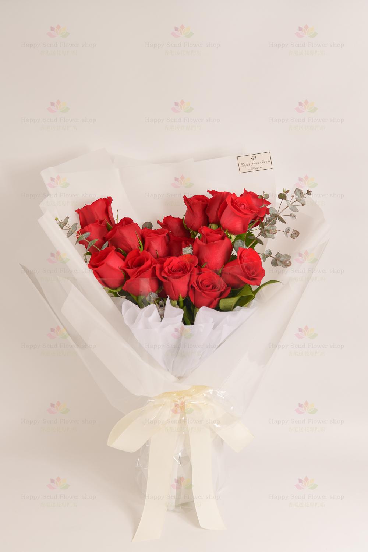 永恆承諾(19枝紅玫瑰、尤加利)(採用進口玫瑰)