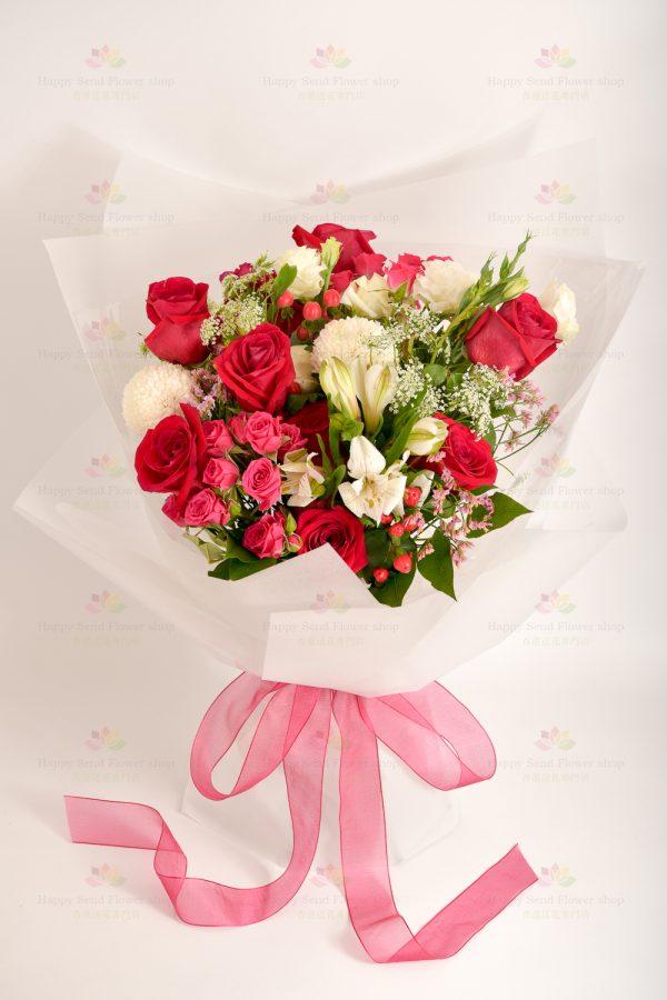 說愛你(紅玫)(8枝進口紅玫瑰、乒乓菊、小玫瑰、紅豆果、小百合、白飛香、粉水晶 、白桔梗)